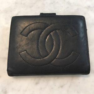 Chanel Lambskin Trifold Black Wallet